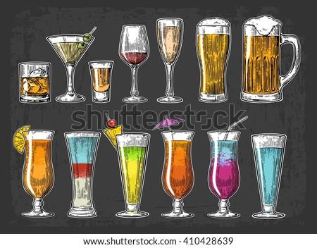 set glass beer  whiskey  wine