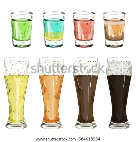 set glass shot with color