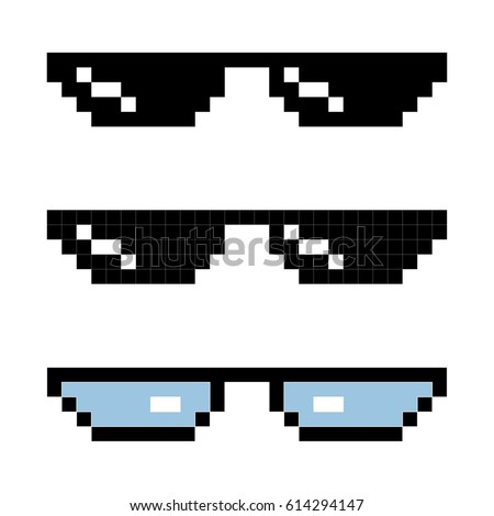 set glasses pixel in art style