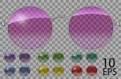 Set glasses.teashades round shape.transparent different color .pink blue purple yellow  red  green.sunglasses.3d graphics.unisex  women men.