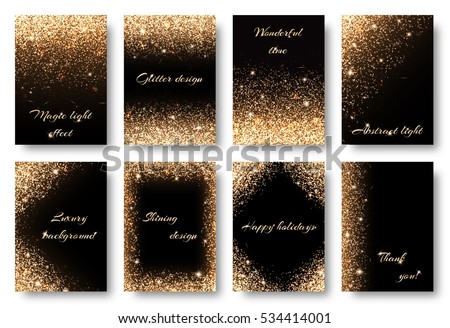Set glitter background with glowing lights. Golden sparks on a black backdrop. Kit for decorating festive greeting cards.