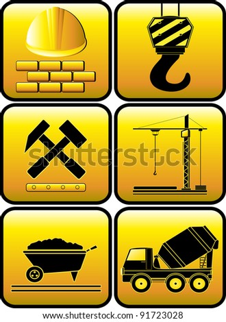set glossy construction icon with equipment silhouette