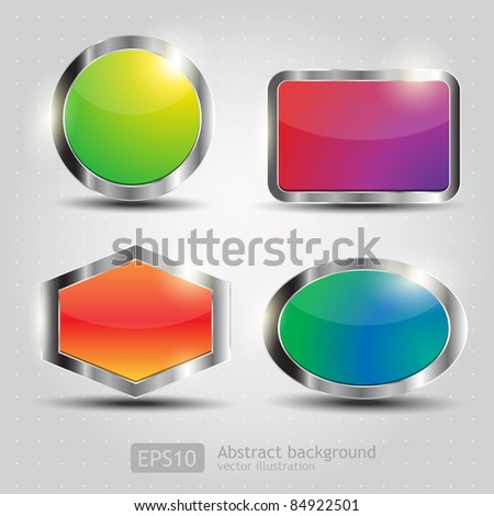 Set Glossy Download Button, icon,speech with shadow and reflections vector