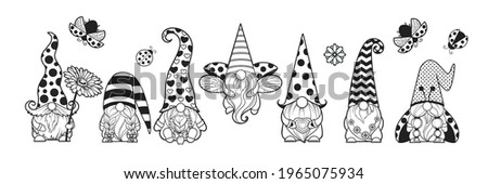 Set gnomes love, gnome ladybug, gnome with chamomile in hands Flying ladybug, black polka dots Gnome summer cartoon characters dwarves vector linear art for printing greeting cards and coloring books Stock fotó ©