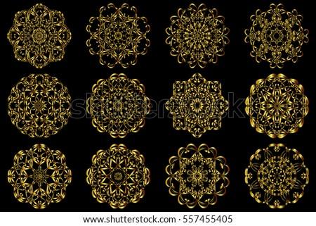 set gold circular pattern