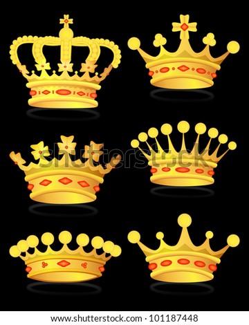 Set gold royal crown on black, vector, 10eps.