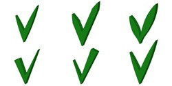 Set Green 3D checkmark, OK sign, vector checkmark sign approval for elections