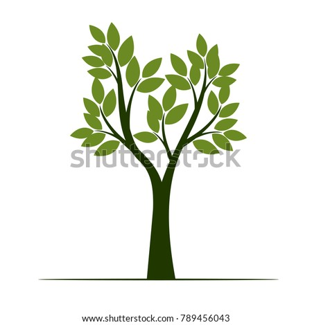 Set Green Trees with Leaves. Vector Illustration.