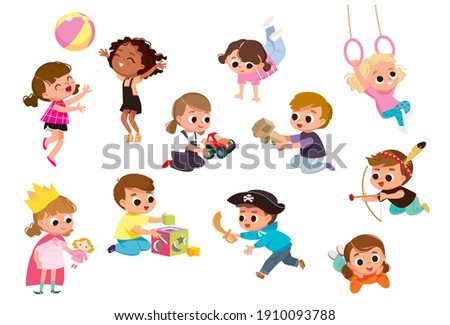 Set group collection of vector cute babies kids characters playing,doing activities in different various poses.Children jump,move,having fun in fine mood,play,hang around with different emotions.