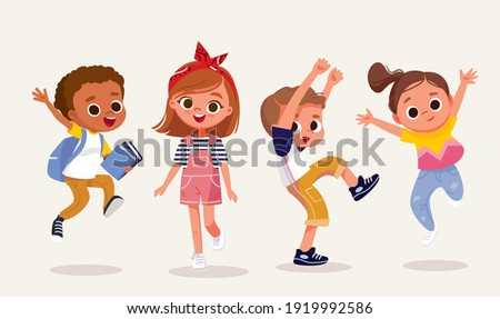 Set, group of 4 four happy children, kids in different poses, dressed in casual outfit clothes.Dancing, jumping boy, girl, children. Creative kids. Dancing studio.