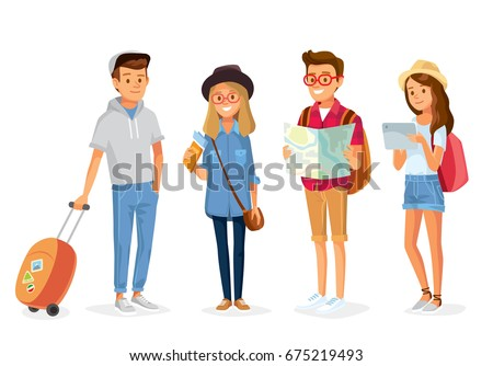Set group of young tourists traveling people with travel bag backpack and map, going on vacation trip. Travelers portrait collection .Travel and tourism concept. ストックフォト ©