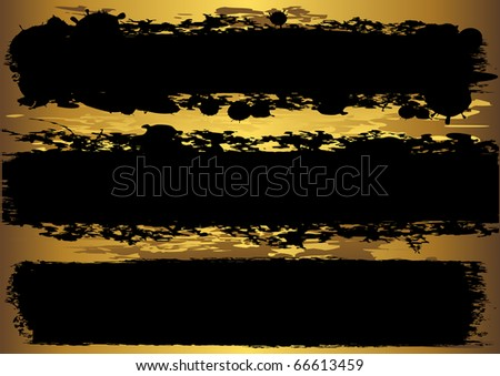 Set grunge banners with golden background. vector. - stock vector