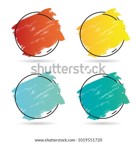 Set grunge brush paint texture design acrylic stroke poster over frame vector. Perfect design for headline, logo and banner