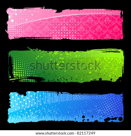 Set grunge color hand banners. Brush abstract backgrounds vector isolated