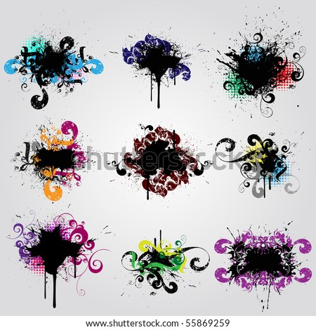 Set grunge design element. Colorful  banner