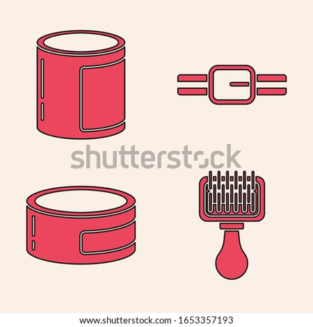 Set Hair brush for dog and cat, Canned food, Collar with name tag and Canned food icon. Vector