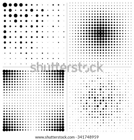 Set Halftone square Design Elements.  Vector illustration