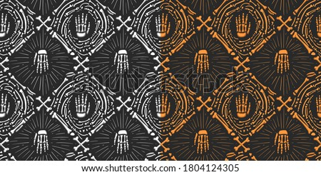 Set halloween doodle pattern with bones. Seamles vector hand drawn