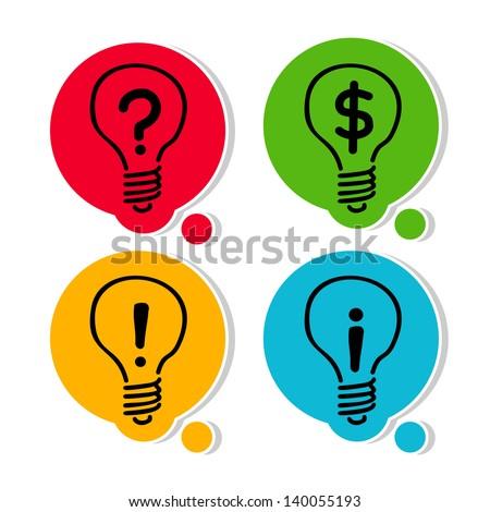Set. Hand drawing light bulb