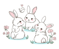 Set Hand Drawn Bunny and little bird, flowers. Cute Rabbits Vector. Print Design for Kids Fashion.