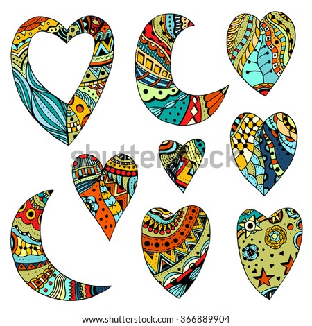 set hand drawn colored hearts