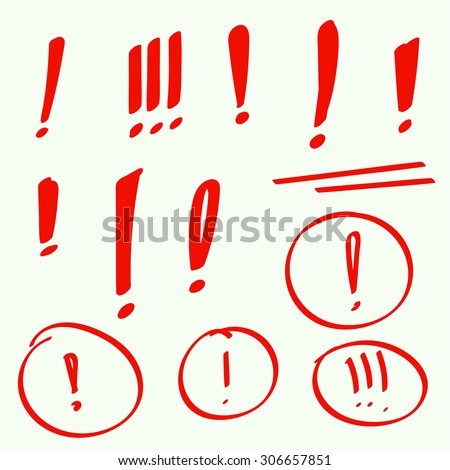 Set hand drawn Exclamation mark. Attention sign icon. Hazard warning symbol. vector