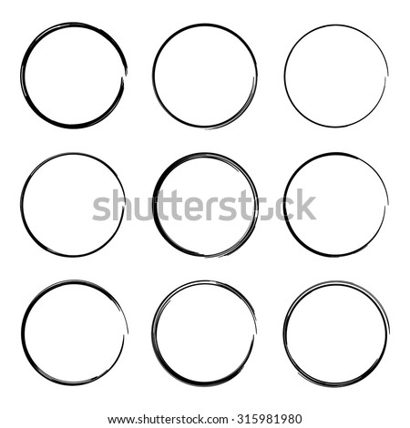 Set hand drawn ovals, felt-tip pen circles. Rough frame elements.
