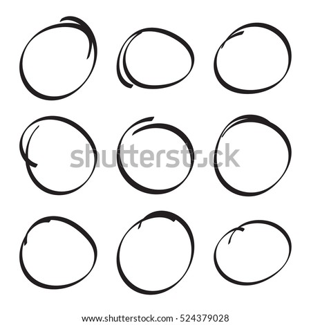 Set hand drawn ovals, felt-tip pen circles.  Rough vector frame elements.