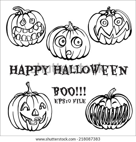 set hand drawn pumpkins for