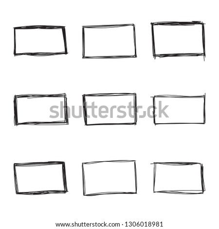 Set hand drawn rectangle, felt-tip pen objects. Text box and frames. Vector illustration.