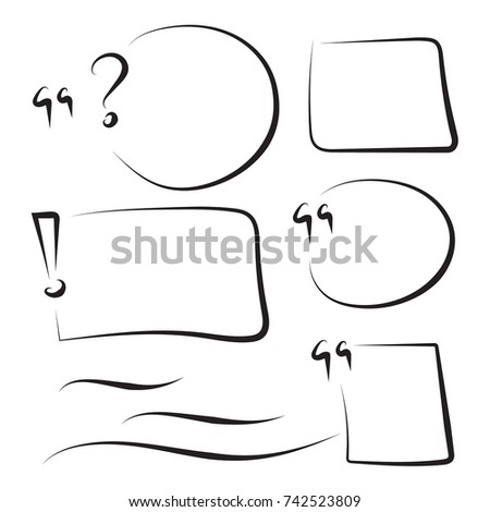 Set hand drawn text box and frames, quotes, question, exclamation mark, underline felt-tip pen objects. Vector handdrawn elements.