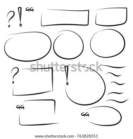 Set hand drawn text box and frames, quotes, question, exclamation mark, underline felt-tip pen objects.