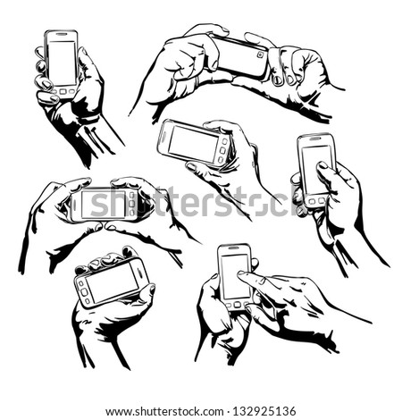 Set Hands Holding the Smart Phone cartoon vector  illustration