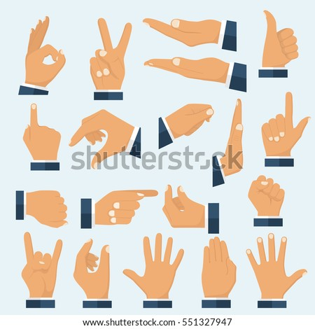 Set hands in different gestures. Collection emotions, signs. Gestures arm: stop, palm, thumbs up, finger pointer, ok, like, many others. Vector illustration flat design. Isolated on white background.