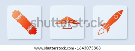 set hang glider  skateboard and