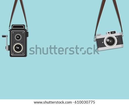 set hanging retro camera