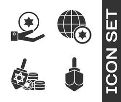 Set Hanukkah dreidel, Jewish coin on hand, Hanukkah dreidel and coin and World Globe and Israel icon. Vector
