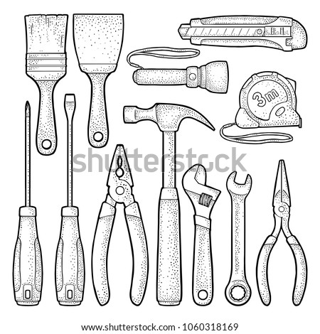 Set hardware tools. Hammer, screwdrivers, tape measure, adjustable wrench, pliers, utility knife, flashlight, brush. Vector black vintage engraving illustration. Isolated on white. Side view
