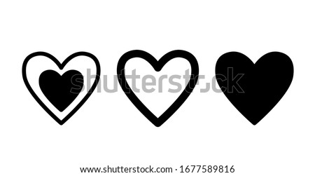 Set heart icons, concept of love. Vector illustration of flat design.