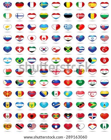 set hearts flags