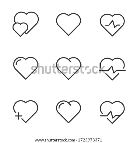 Set Hearts graphic , Related Line Icons. line icon Collection of high quality hearts graphic, hearts graphic icons. Set icon heart graphic. Illustration vector romantic care