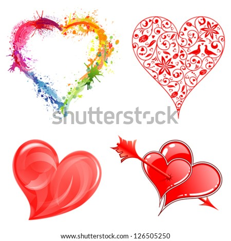 Set Hearts on Valentine's Day in Different Styles, vector isolated on white background