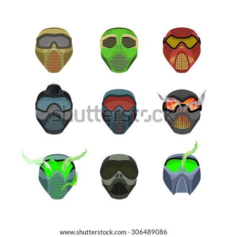 set helmets and masks for