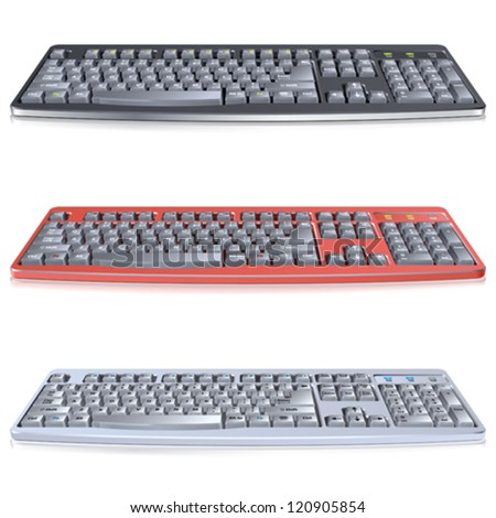 Set High Detailed Computer Keyboards, isolated on white background, vector illustration