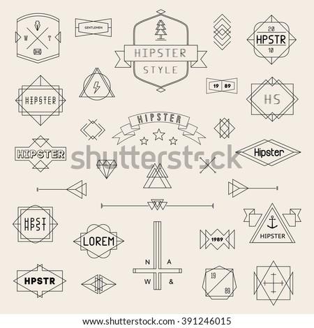 Set Hipster Icons, Logo, Badge, Elements, Frames, Art Deco