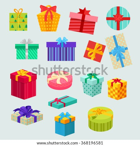 Set holiday Christmas box surprise with ribbon and bow for anniversary or birthday present or xmas gift isolated illustration
