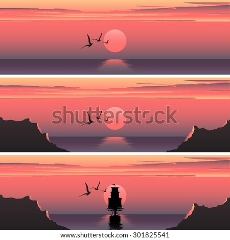 Set horizontal banners of sunset over the sea. Sunset over the sea. Ship at sunset. Ship at sunrise. Sea banners advertising.