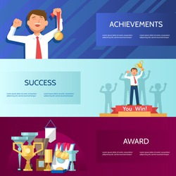 Set horizontal banners with successful businessman trophy gold medal award in hand. Vector illustration business success and achievements concept.