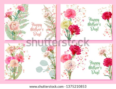 ad0c449dff521 Set horizontal Mother's Day cards with carnation: red, pink, white flowers,  twig