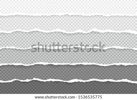 Set horizontal torn paper edges, seamless horizontally texture. Space for advertising, banner of web page, border and header.